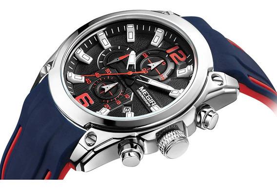 Relógio Megir 2063 Esportivo Original Cronógrafo Calendário