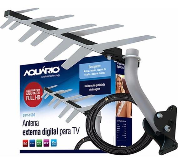 Antena Externa Digital Hdtv Completa 2em1 Aquário - Dtv-1500