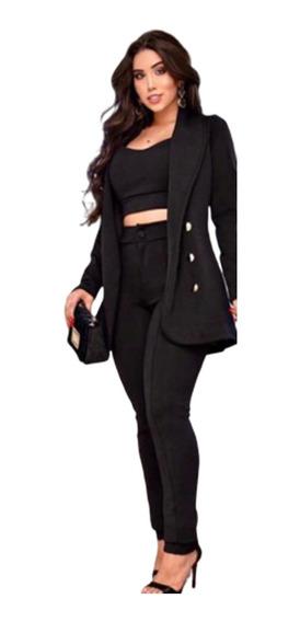 Conjunto Feminino Blazer Calça Skinny Colada E Cropped