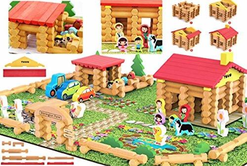 Shinington Wooden Farm Playset Juego De Construcción D...