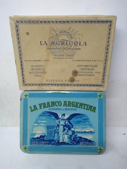 Antigua Lata,la Franco Argentina Y Caja La Agricola Seguros