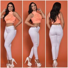 Calça Jeans Branca Feminina Cintura Alta C/lycra Linda Sarja