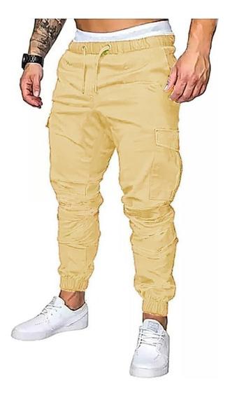 Pantalon Cargo Jogger Gabardina Cintura Y Puño Elasticos