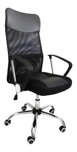 Cadeira de escritório Pelegrin PEL-8009  preta com estofado do couro sintético y mesh