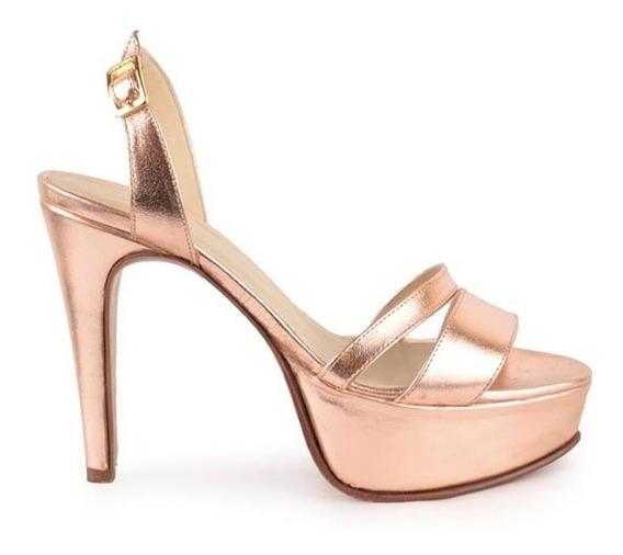 Sandalias De Mujer De Cuero Metalizado - Paladio - Ferraro -
