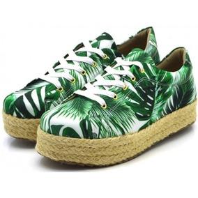 Tênis Feminino Casual Flat Form Tropical Verde Estampado