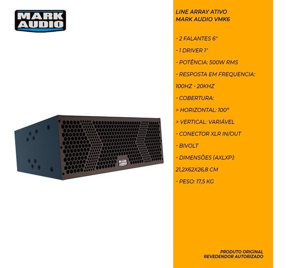 Caixa Som Line Array Attack Mark Audio Vmk6 Preto 500w Rms