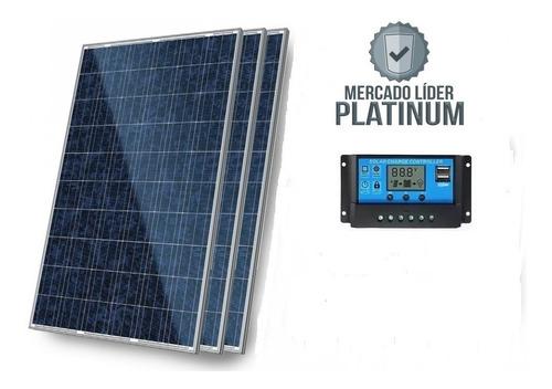 Kit 3x Painel Placa 1 Controlador Solar Fotovoltaico 150w