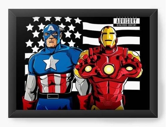 Quadro Decorativo Geekz Capitão America E Homem De Ferro