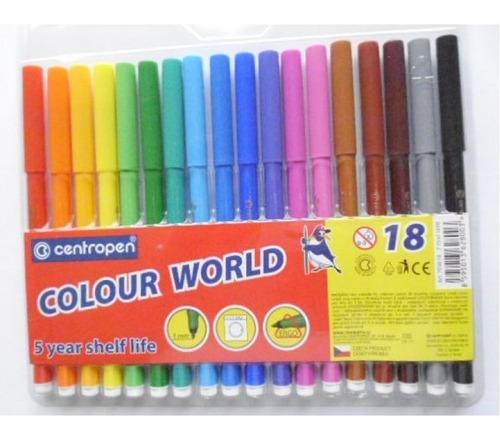 Marcador Centropen   Fino Lavable  X 18 Colores