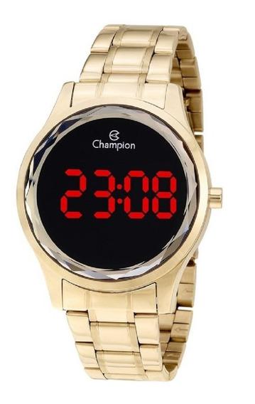 Relógio Champion Feminino Digital Dourado Detalhe Lapidado