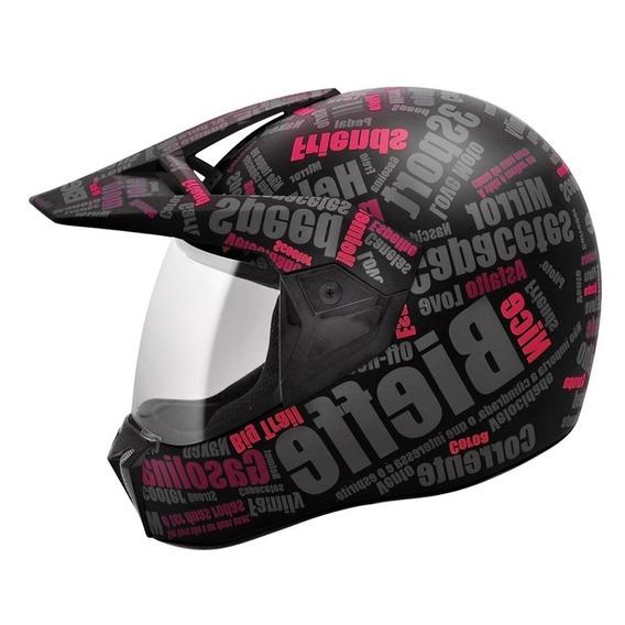 Capacete Moto Bieffe 3 Sport Mirror Feminino Preto E Rosa