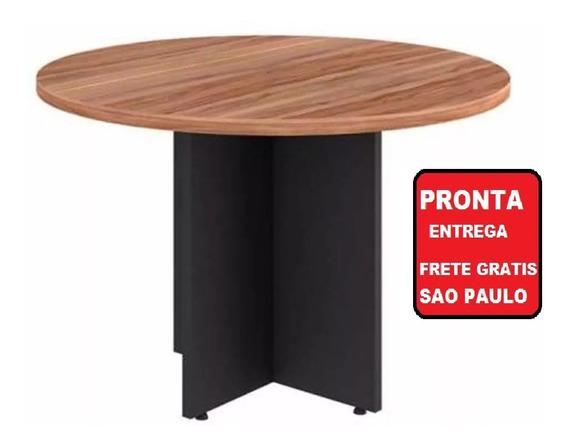 Mesa Reunião Escritório Redonda Yaris Preto Calvi 110x110cm