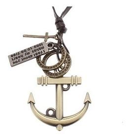 Colar Masculino Cordão De Couro Ajustável Ancora Navy