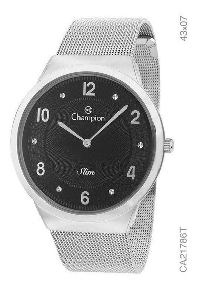 Relógio Champion Slim Feminino Prata Fundo Preto Ca21786t