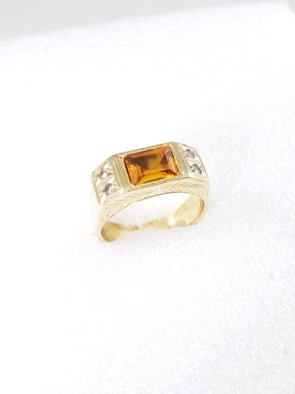 Anel Masculino De Ouro Amarelo Com Cítrino E Diamantes