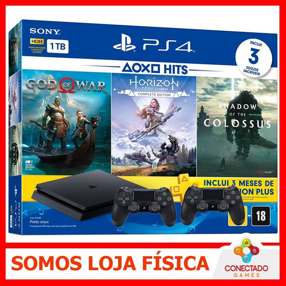 Console Ps4 Playstation 4 Slim 1tb 3 Jogos + Psn 2 Controles