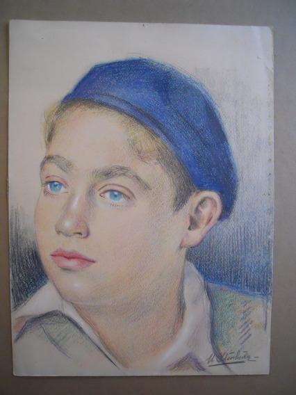 Manuel Yturbide Dibujo Lapiz De Color Niño Con Gorro