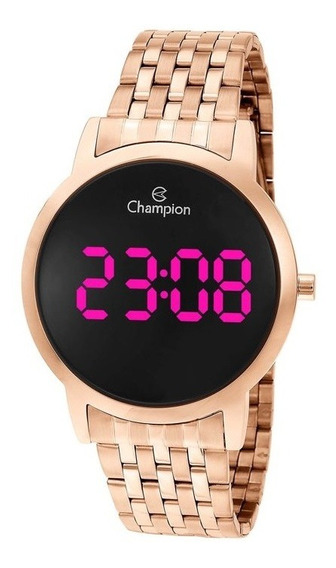 Relógio Champion Feminino Rosê Digital Led Rosa Ch40099z