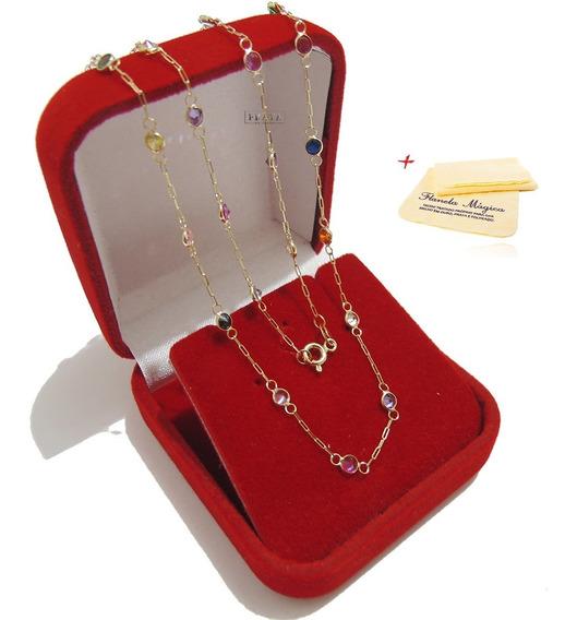 Colar Com Pedras Coloridas De Ouro 18k 750 Gargantilha Corrente Feminina 45cm Pedrinhas Zirconia