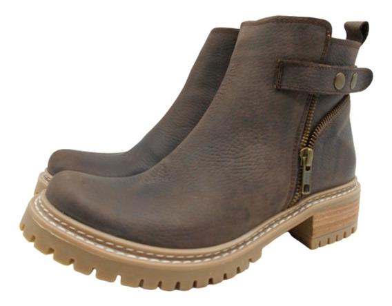 Botineta Bota Corta Cierre Cuero Mujer Zapato Base Goma 133