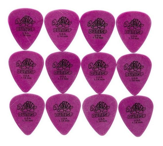 12x Palhetas Guitarra Violão Tortex 1,14mm Roxa Dunlop 418r