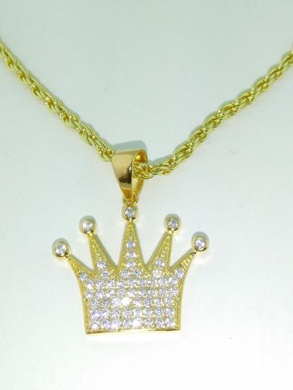 Pendiente Corona Cadena24 Adiamantada En Oro Laminado De 14k