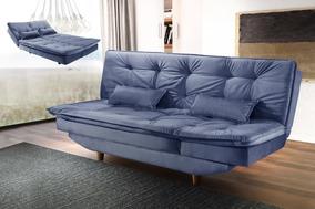 Sofá Cama Luxo 3 Posições Com Chaise Em Veludo Luxo