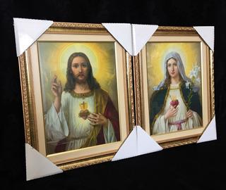 02 Quadro Sagrado Coração Jesus Maria 50x40cm Italiano Vidro