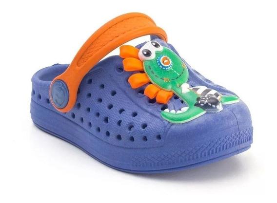 Babuche Infantil Masculina Joy Plugt Colors Dino 3d Azul