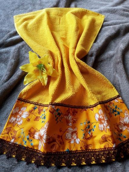 Conjunto Toalha De Rosto Amarelo Mango + Toalha Piso Amarela