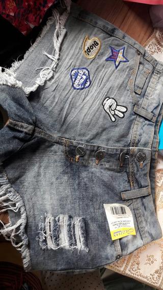 Short Jeans Com Lycra Cos Alto Jezzian