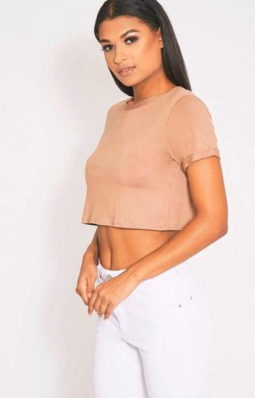 Top Corto ´damamanga Corta Remera Básica Mujer Crop Top