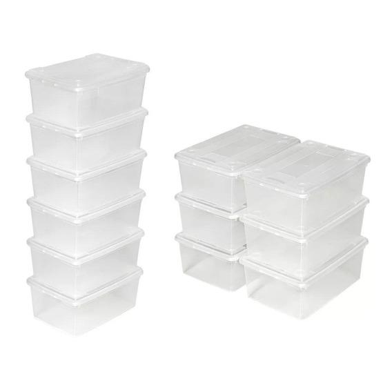 10 Cajas Plasticas Para Almacenar Tamaño Grande Zapato !!