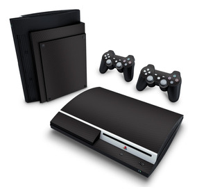 Skin Ps3 Fat Adesivo Playstation 3 Fibra De Carbono Preto