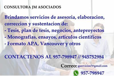 Proyectos De Tesis, Informes, Plan Negocios, Apa, Monografia
