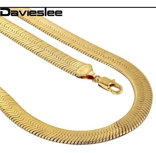 Corrente Serpente 10 Mm/ 45cm Folheada Ouro 18k Com Garantia