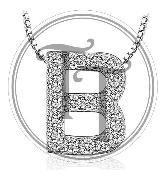 Collar Letra B Plata Esterlina 925 Zirconias 0.42 Ct