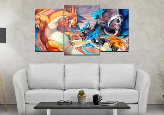 Cuadro Tríptico Decorativo Pokemon Charizard X Y 70 X 130 Cm
