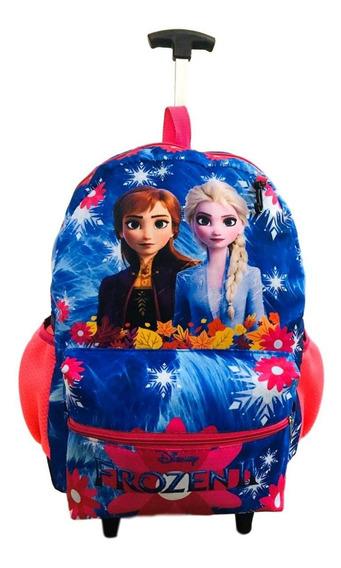 Mochila Escolar Frozen De Rodinhas Alça Costa Elsa Anna