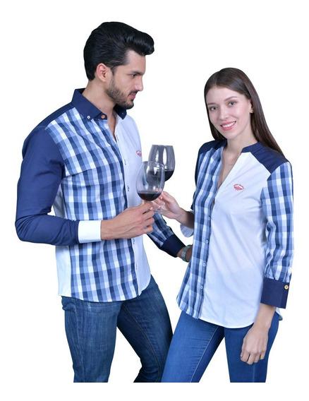 Camisa Dama O Caballero Parejas Cuadros Porto Blanco De-966