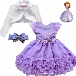 Vestido Infantil Luxo Princesa Sofia Com Faixa E Bolero