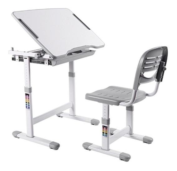 Mesa E Cadeira Infantil C Regulagem De Altura B201 Cinza Elg