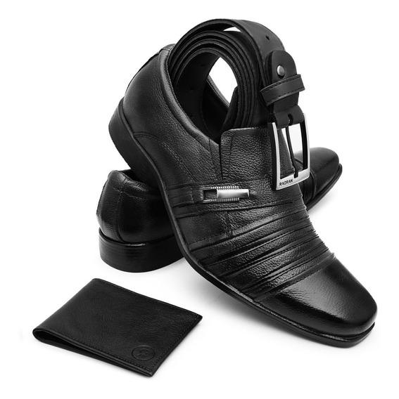 Sapato Masculino Social Casual Kit Carteira Cinto Couro Luxo