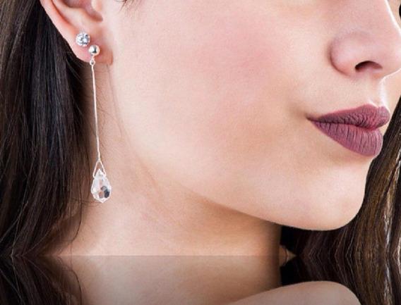 Brinco Gota Prata 925 Legitima Feminino Cristal 7,00 Cm