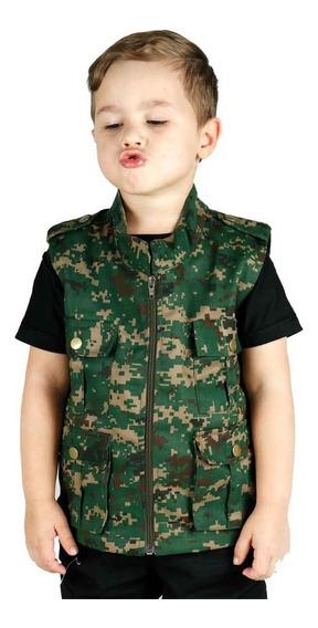 Colete Infantil Army Camuflado Digital Verde Treme Terra