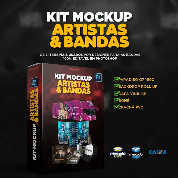 Kit Mockup Onibus - Cracha- Cd -backdrop- Camisa