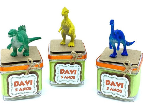 Imagem 1 de 3 de Kit Caixinha Acrílica Dinossauro - 10 Caixinhas