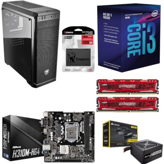 Pc Cougar Intel I3 8100 Mb H310m Hg4 Bl 16gb Vs400 Ssd 120gb