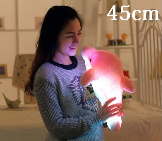 Golfinho Rosa De Led Pelucia 45cm Naninha Neném Bebê Criança